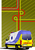 Vector clipart: Cover for brochure or template office folder with ambulance van