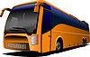 Vector clipart: Orange tourist bus on road. Coach. City bus. illustr