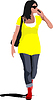 Vector clipart: Young woman is walking on street with bag and