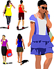 Vector clipart: Collection of young women silhouette are walking on