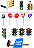 Set of traffic lights. Red signal. Yellow signal. Gree