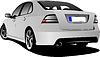 Векторный клипарт: Вид сзади серебро седан автомобиль на дороге
