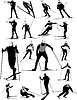 Big set of ski sport silhouettes