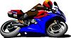 Векторный клипарт: Мотоцикл на дороге. Байкер