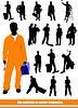 Векторный клипарт: Люди силуэты. Большая коллекция работников