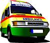 Векторный клипарт: Современные ван скорой помощи на белом фоне. Цветной