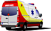Modern ambulance van over white.