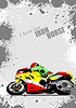 Grunge gray background with motorcycle image. Iron