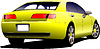 Yellow car sedan on road