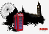 Vector clipart: Grunge London poster with red call-box