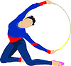 Vector clipart: Girl with gymnastic hoops