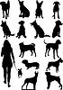 Set von Hunden Silhouette