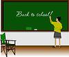 Linkshänder-Mädchen im Klassenzimmer. Zurück zu Shule