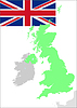 Vector clipart: United Kingdom flag and map