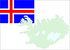 Iceland map and flag