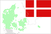 Denmark map and flag, set