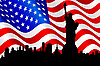 Vector clipart: American flag and Statue of Liberty