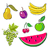 Vector clipart: Fruits set