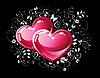 Векторный клипарт: Пара красных сердец