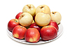 Red and yellow apples on plate | Stock Foto