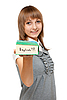 Photo 300 DPI: Young girl with dictionary english