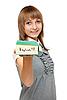 사전에 영어와 젊은 여자 | Stock Foto
