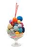 Стеклянная миска с клубками для вязания | Фото