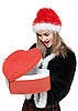 Girl with red gift box | Stock Foto