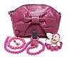 Purple kobieca torba i naszyjnik | Stock Foto