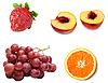 Grape, peach, strawberry and orange | Stock Foto