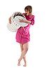 Dziewczyna z koszem na bieliznę | Stock Foto