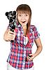 영화 카메라와 격자 무늬의 셔츠에있는 여자   Stock Foto