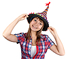 Young beautiful girl in colour hat | Stock Foto