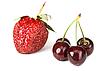 Strawberry and sweet cherries   Stock Foto