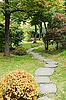 路径在秋季公园的石头 | 免版税照片
