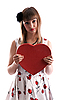 ID 3066333 | Beautiful girl in gown with red heart in hand | High resolution stock photo | CLIPARTO
