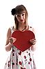 Фото 300 DPI: Красивая девушка в платье с красной коробкой-сердцем