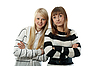 Portrait two beautiful girls in striped cloth | Stock Foto