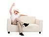 Chłopiec na kanapie | Stock Foto