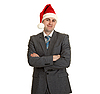 Man in gray suit and hat of Santa Claus | Stock Foto