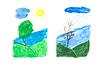 Dibujo de Baby, árbol de sol | Foto de stock