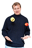 Photo 300 DPI: Man in dark cloth juggle apple