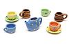 Photo 300 DPI: Set of varicoloured ceramic dishes