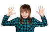 격자 무늬의 셔츠와 손을 위쪽에서 아름 다운 소녀   Stock Foto