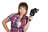 Photo 300 DPI: Beautiful girl in plaid shirt with movie camera