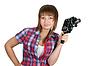 格子衬衫,美丽的女孩在电影摄影机 | 免版税照片