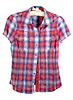 빨간색과 파란색 밴드와 격자 무늬의 셔츠   Stock Foto
