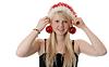 Schöne blonde Mädchen in Santa Hut   Stock Photo