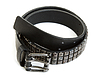 Black leather belt with steel buckle   Stock Foto