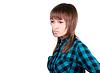 격자 무늬의 셔츠에 젊은 아름 다운 여자의 초상화   Stock Foto